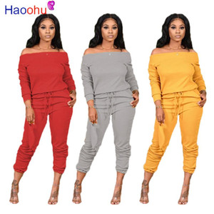 Solid Knitted Women Set Two Pieces Set Tracksuit Off Shoulder Tee Tops Jogger Sweatpant Suit Outfit Matching