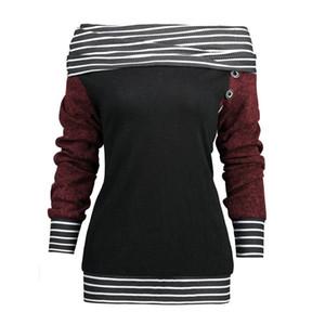 Женщины Конструкторы фуфайки 2020 Мода свая воротник женщин Топы Сыпучие Щитовые Дизайнер полосатого отпечатанных Женская одежда