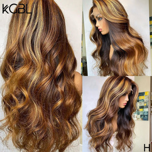 Highlight Wavy T-part Lace Front Human Hair Wigs 150% Density Wigs 8-24'' Brazilian With Baby Hair Medium Ratio