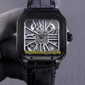 Meilleure version TW0009 2020052 Skeleton Cadran lumineux Swiss 4S20 Automatique Mechanical Hommes Montre Saphir 316L Steel Boîtier En Cuir Band montres