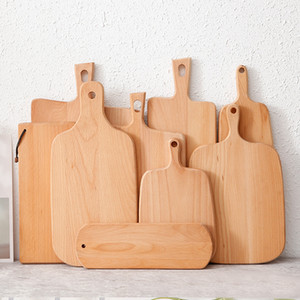 Hangable Beech Cutting Board Durable Wooden Chopping Fruit Pizza Sushi BBQ Tray Solid wood Unpainted Non-slip Kitchen Dining Tools YL0095