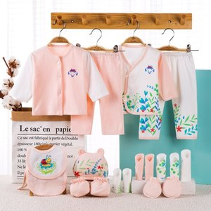 18 piece newborn baby set boy clothes 100% cotton infant suit baby girl clothes outfits pants baby clothing hat bib ropa de bebe Y1113