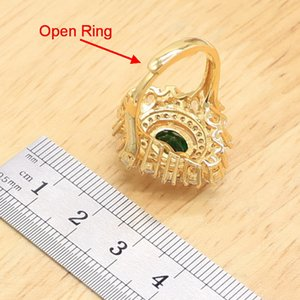 Luxury Green Semi-pricous Gold Color Jewelry Sets for Women Wedding Party Necklace Pendant Earrings Open Ring Size Adjustable