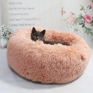 Long Plush Cat Bed House Soft Round Cat Bed Winter Pet Dog Cushion Mats For Small Dogs Cats Nest Warm Pupp bbyzAy