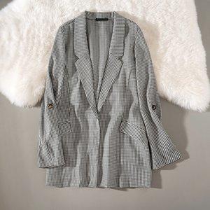 Cthink Automne Nouveau Vente Mode Femme Casual Costume Houndstooth noir et blanc dames Blazer manteau d'affaires