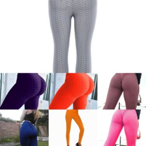 UOX Femmes Pantalon de yoga gaufrage Gym Leggings Leggings Pant Yoga Extende Stretch Polyester Spandex Workout Quick-Dry Élastique Fitness
