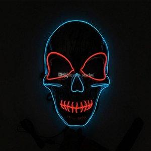 LED Yüz Maskeleri Parti Maskeler Kafatası EL Parti Tel Maske Masquerade Tam Halloween kılık Cadılar Bayramı Parlayan Hediye WX9-956 LED Yüz Mas Xffm Maske