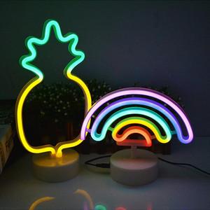 레인보우 플라밍고 유니콘 LED 네온 USB 램프 새해 선물 할로윈 크리스마스 장식 집에 대한 조명을 주도