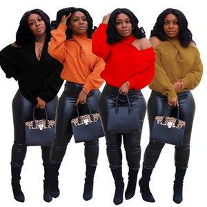 섹시한 어깨 니트 스웨터 Turtleneck 풀오버 콜드 숄더 탑 6 색 긴 소매 드레스 드롭 배송 knit kear-1