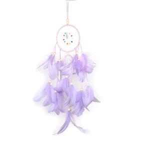 Originalidad Dream Catcher Wind Chime Net Dos anillos Estudio Sala de la pared Colgante de la pared Sencillez Decoración Colgante Regalo Pink New 10ms M2