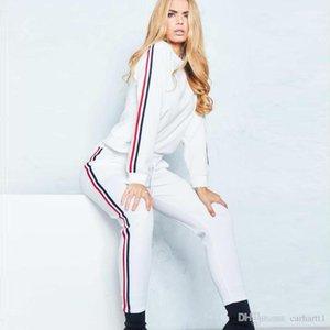 Line костюмы Мода длинным рукавом Длинные брюки женские костюмы повседневные Женщины повседневные костюмы Женская Дизайнерская панелями