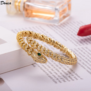 Donia jewelry European and American fashion exaggerated snake shaped copper micro inlaid bracelet for women's opening Designer Bracelet
