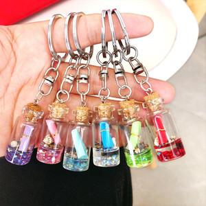 الانجراف الإبداعي الكوري متمنيا زجاجة سلسلة مفتاح قلادة جميلة الإضافية للمرأة مفتاح سلسلة حلقة GIFT PENDANT 10 قطعة بدلة