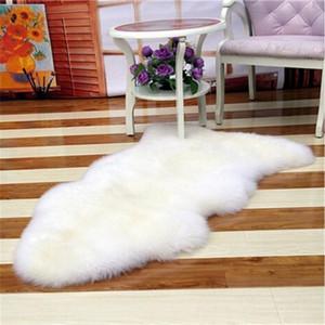 Sheepskin Chair Cover Warm Hairy Carpet Seat Pad Plain Skin Fur Plain Fluffy Area Rugs Washable Bedroom Faux Mat
