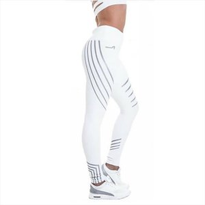 2020 new ladies fitness lightweight high elastic luminous leggings fitness Slim ladies pants white trousers leggings