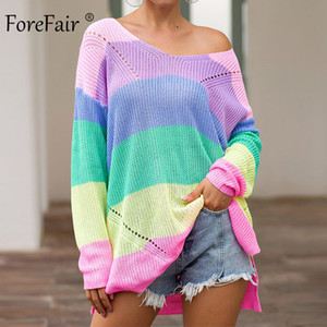 Camisola das mulheres Forefair Oversize arco-íris Casual Plus Size Multicolor malha Outono Inverno pulôver listrado Feminino Jumper Y200930