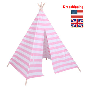 Stock in US UK Indian Tent Children Teepee Tent Baby Indoor Dollhouse with Small Coloured Flags Roller Shade and Pocket Dropshipping