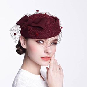 QPALCR100% Wool Pillbox Hat Veil Fascinator Hats For Women Fedora Hat Ladies Wedding Hats Green Vintage Berets