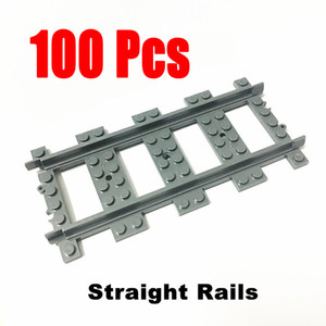 100 Pcs Lot City Trains Train Track Rail Straight Rails Building Blocks Set Bricks Model Kids Classic Toys For Children gift 1008