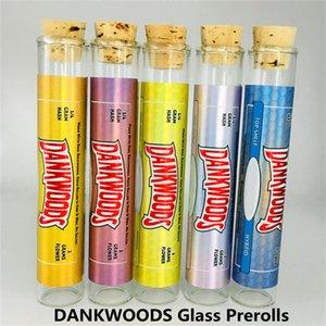 Dankwoods 유리 튜브 프리 롤 조인트 패키지 빈 프리 롤 Dankwoods 유리 컨테이너 병 vape 카트리지 포장 튜브 스티커