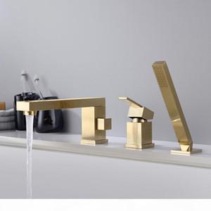 In ottone cromato nero opaco spazzolato oro bagno doccia rubinetto vasca da bagno doccia Set da bagno 1 Maniglia 3 fori Miscelatore lavello Rubinetti bbydzF mj_bag