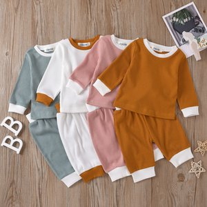 Весна Одежда наборы Сплошной цвет с длинным рукавом Детская одежда Top + Pant детей нарядах 2 шт наборы