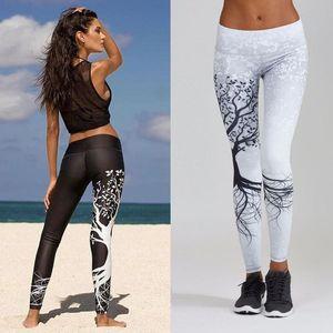 Fashion Cool Tree Print Women Elastic Leggings Slim Yoga Pilates Fitness Sport Pants Elasticity Legging jogging Gym Trousers
