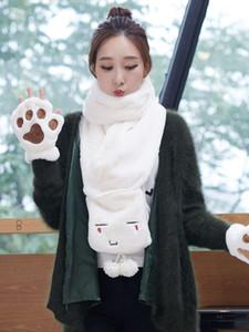 Scarves women winter versatile neck Korean version Christmas warm lovely girl students new gloves gift boxvip