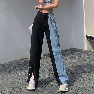 New Vintage Summer Jeans Femme Pantalons Cowboy Femme desserrées Streetwear taille haute Jeans Vêtements fendus jambe large