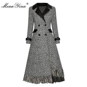 Moayina Fashion Woolen Ploid Plaid Giabbio Giabondo OverCoat Autunno Doppia Doppi Breasted Asimmetrica nappa a maniche lunghe Soprabito LJ201128