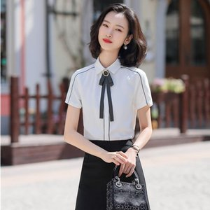 Fashion Women Blouses & Shirts with Necktie Office Ladies Short Sleeve Work Wear White Female Tops