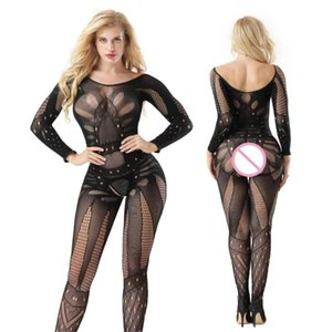 Women Sex Costumes Lace Lingerie Porno Sleepwear Hollow Open Crotch Pantyhose Catsuit Exotic Mesh Onesies Sex Costumes Shop