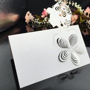 100pcs lot White Wholesale Wedding Supplies Head Pattern Paper Name Place Card Holder Festive Party Table Wine Party Event Decor