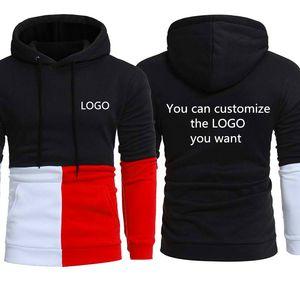 Spring Autumn Stitching Men's Sweatshirt Can Custom LOGO Printing Fashion Casual Mens sweaterHigh Quality Cotton Men's hoodie