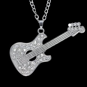 Fashion Punk Rap Jewelry Silver Guitar Necklace Personalized Alloy Gold And Silver Guitar Pendant Necklace