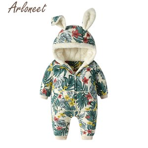 ARLONEET clothes baby boy winter thick coat Cartoon bunny romper Jumpsuit zipper Hooded outerwear cotton baby coat boy outerwear 1005