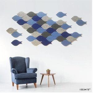 Fish felt 3D three dimensional wall stickers creative Nordic environmental protection anti collision modern simple sofa TV background wall