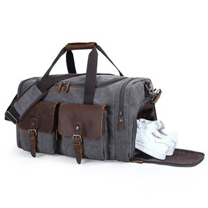 Mens Canvas Leather Travel Bags Duffle Bag Classic Large Capacity Weekender Overnight Duffel Bag With Shoe Pocket For Men Women