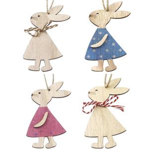 Pascua Colgantes de madera Decoraciones Colgante DIY Tallado Conejo de madera Colgantes Colgantes Colgantes Ornamentos Creative Wooden Craft Party Favors GWD4048
