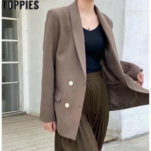 TOPPIES Frühling Herbst Zweireiher Blazer Koreanische Modejacke Chic Jackets 201114