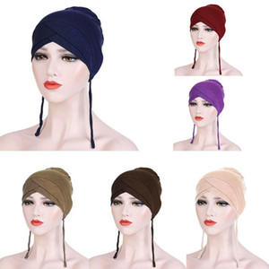 Women Muslim Underscarf Beanie Forehead Cross Tie Bandage Inner Turban Cap THINKTHENDO