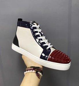 AyakkabıHristiyanCLlouboutinErkekler Parti Tasarımcı Kırmızı Alt Spor Ayakkabılar, Aşıklar Gerçek Deri Yüksek Top Studde TW İçin Toptan