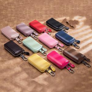 Polychromatische Schlüsselbeutel Automobil Ledertasten Anti verlieren Halter Zubehör Multi Funktion DIY Frau Mann Business Keycase 12YB K2