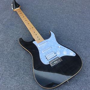 L'alta qualità 6 corde della chitarra elettrica, corpo in mogano massello, vino copertura superiore acero fiamma nera, hardware cromato, la consegna gratuita!