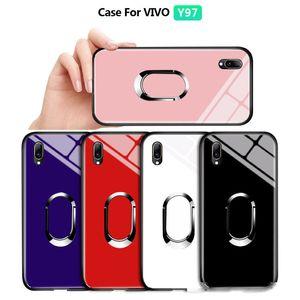 For Vivo Y85 V9 Z1 Z1i Luxury Magnetic Ring Holder Stand Case Tempered Glass Casing Protective Phone Back Shockproof Cover