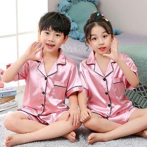 Girls Pajamas Set Summer Short Sleeve Children's Sleepwear Set Fake Silk Pajamas Boy Pyjamas Sets for Kids Children's Day Gift456