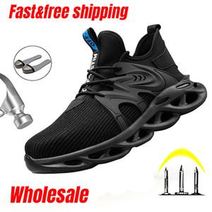 Sapatos de segurança de toe de aço larnmern para homens Respirável Lightweight Work Shoes Anti-Punctures Botas de Trabalho de Moda Sapatilhas 201266