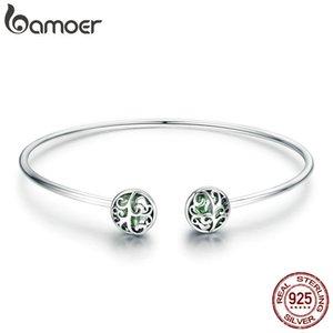 Bamoer Genuine 925 Sterling Silver Tree Of Life Green Crystal Cz Women Open Cuff Bangle & Bracelet Luxury Silver Jewelry Scb057 Y19051002
