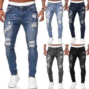 Mens Jeans Fashion Hole déchiré Pantalon Pantalon Casual Hommes Skinny Jean Haute Qualité lavée Pantalon crayon Vintage 5 Colora Taille S-3XL