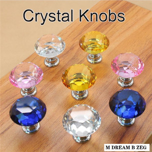 30mm Diamond Crystal Door Knobs Glass Drawer Knobs Kitchen Cabinet Furniture Handle Knob Screw Handles and Pulls Home Hardware